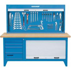 Навесной инструментальный шкаф в комбинации с верстаком
