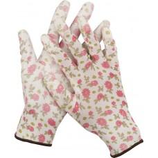 Перчатки GRINDA садовые, прозрачное PU покрытие, 13 класс вязки, бело-розовые, размер L