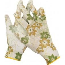 Перчатки GRINDA садовые, прозрачное PU покрытие, 13 класс вязки, бело-зеленые, размер M