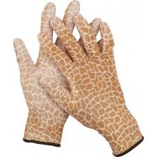 Перчатки GRINDA садовые, прозрачное PU покрытие, 13 класс вязки, коричневые, размер M