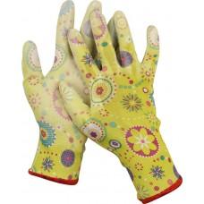 Перчатки GRINDA садовые, прозрачное PU покрытие, 13 класс вязки, зеленые, размер M