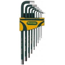"""Набор ключей имбусовых KRAFTOOL """"INDUSTRIE"""" длинные,Cr-Mo сталь(S2),хромир покрытие с противоскол напыл,HEX1,5-10мм,9шт"""