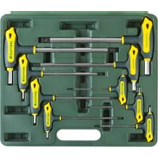 """Набор KRAFTOOL Ключи """"INDUSTRIE"""" имбусовые,Cr-Mo(S2),Т-образные, эргоном двухкомп рукоятка,HEX,с шариком,9 шт,в боксе"""