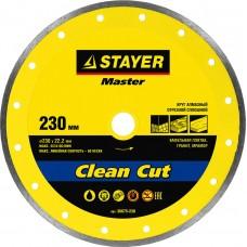 Clean Cut 230 мм, диск алмазный отрезной сплошной по керамограниту, мрамору, плитке, STAYER