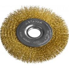 """STAYER """"PROFESSIONAL"""". Щетка дисковая для УШМ, витая стальная латунированная проволока 0,3мм, 125ммх22мм"""