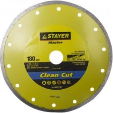 Clean Cut 180 мм, диск алмазный отрезной сплошной по керамограниту, мрамору, плитке, STAYER
