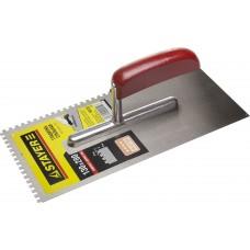 STAYER 130х280 мм, 4х4 мм, гладилка штукатурная зубчатая стальная с деревянной ручкой
