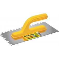 STAYER Master 130х27 0мм, 8х8 мм, гладилка штукатурная зубчатая нержавеющая с пластиковой ручкой