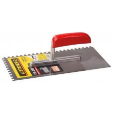 STAYER 130х270 мм, 6х6 мм, гладилка штукатурная зубчатая стальная с деревянной ручкой