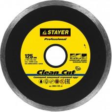 Clean Cut 125 мм, диск алмазный отрезной сплошной по керамограниту, мрамору, плитке, STAYER Professional