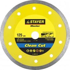 Clean Cut 125 мм, диск алмазный отрезной сплошной по керамограниту, мрамору, плитке, STAYER