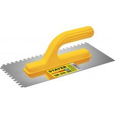 STAYER Master 130х270 мм, 6х6 мм, гладилка штукатурная зубчатая нержавеющая с пластиковой ручкой