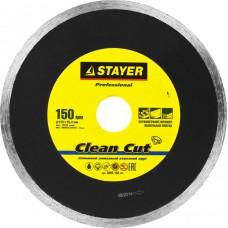 Clean Cut 150 мм, диск алмазный отрезной сплошной по керамограниту, мрамору, плитке, STAYER Professional