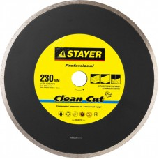 Clean Cut 230 мм, диск алмазный отрезной сплошной по керамограниту, мрамору, плитке, STAYER Professional