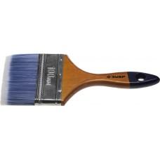 """Кисть плоская ЗУБР """"АКВА-МАСТЕР"""", искусственная щетина, деревянная ручка, 100мм"""