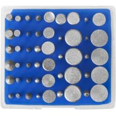"""Набор ЗУБР """"ПРОФЕССИОНАЛ"""": Мини-насадки с алмазным напылением в пластиковом боксе, Р 180, хвостовик 3мм, 50 предметов"""