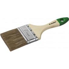 """Кисть плоская ЗУБР """"ЛАЗУРЬ-МАСТЕР"""", смешанная щетина, деревянная ручка, 75мм"""