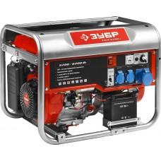 ЗУБР 5.7/6.2 кВт, однофазный, синхронный, щеточный, генератор бензиновый ЗЭСБ-6200-Э
