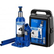 Домкрат гидравлический бутылочный T50, 4т, 192-374мм, в кейсе, ЗУБР Профессионал 43060-4-K