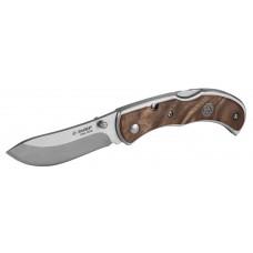 """Нож ЗУБР """"ПРЕМИУМ"""" СКИФ складной, эргономичная рукоятка с деревянными накладками,180мм/лезвие 75мм"""