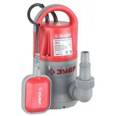 ЗУБР 400 Вт, 200 л/мин, насос погружной дренажный для чистой воды ЗНПЧ-400