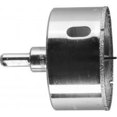 Коронка алмазная по кафелю и стеклу, d=60 мм, зерно Р 60, в сборе с центрирующим сверлом и имбусовым ключом, ЗУБР Профессионал 29850-60