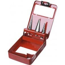 """Набор ЗУБР """"МАСТЕР"""": Ступенчатые сверла по сталям и цвет.мет., быстрорежущая сталь, d=3-14мм,8ступ. d=4-12 мм 5 ступ., d=6-20мм 14ступ."""