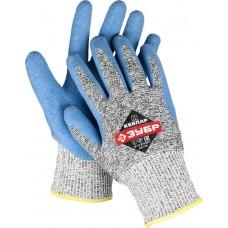 Перчатки ЗУБР для защиты от порезов, с рельефным латексным покрытием, размер M (8)