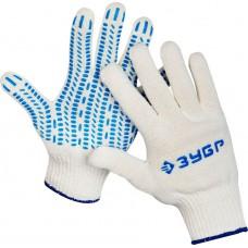 ЗУБР ПРОТЕКТОР, размер L-XL, перчатки трикотажные, с ПВХ покрытием, 10 пар в упаковке, 11390-K10