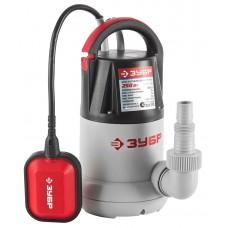 ЗУБР 250 Вт, 110 л/мин, насос погружной дренажный для чистой воды ЗНПЧ-250