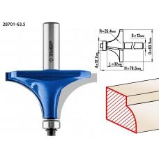Фреза кромочная калевочная №1, D= 63,5мм, рабочая длина-32мм, радиус-25мм, хв.-12мм, d-12,7мм, ЗУБР Профессионал