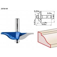 Фреза фигирейная №1, D= 89мм, рабочая длина-19мм, радиус-15,8мм, хв.-12мм, d-12,7мм, ЗУБР Профессионал