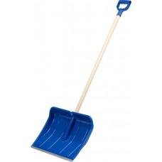 ЗУБР АЛЯСКА лопата снеговая, пластиковая с алюминиевой планкой, деревянный черенок, V-ручка, 490 мм.