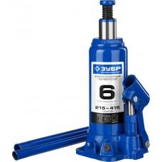 Домкрат гидравлический бутылочный T50, 6т, 215-415мм, ЗУБР Профессионал 43060-6