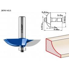 Фреза фигирейная №2, D= 63,5мм, рабочая длина-13мм, радиус-25,4мм, хв.-12мм, d-12,7мм, ЗУБР Профессионал