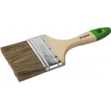 """Кисть плоская ЗУБР """"ЛАЗУРЬ-МАСТЕР"""", смешанная щетина, деревянная ручка, 100мм"""