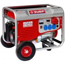 ЗУБР 5/5.5 кВт, трехфазный, синхронный, щеточный, генератор бензиновый ЗЭСБ-5500-ФН