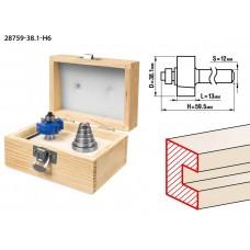 Фреза четвертная фальцевая в наборе с подшипниками, D= 38,1мм, хв.-12 мм, ЗУБР Профессионал